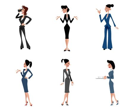 secretary tray: Vector illustration of a six businesswomen posing