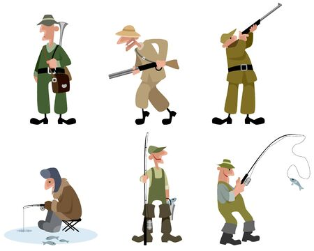 Vector illustration of a fishermen and hunters set Illustration