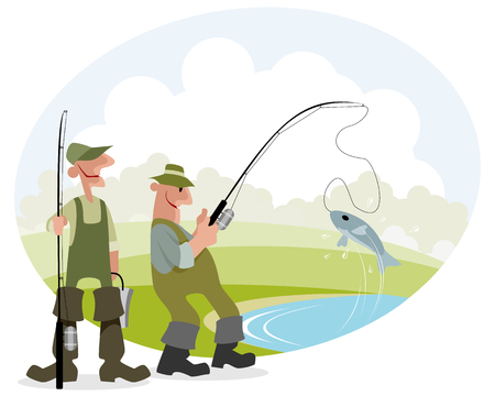 Vector illustration of a fisherman catches fish