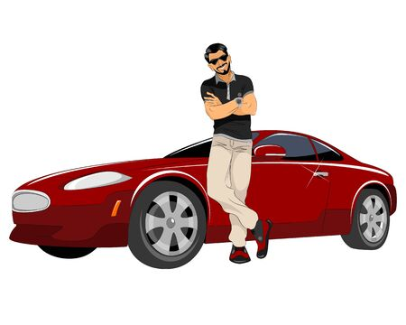 Vector illustration of a young man with good car