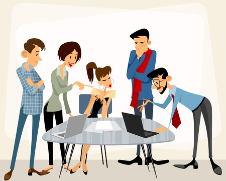 deliberation: Vector illustration of a business team at work Illustration