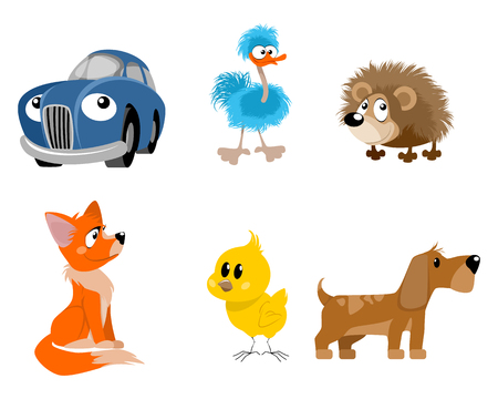 ostrich chick: Vector illustration of a six toys set Illustration