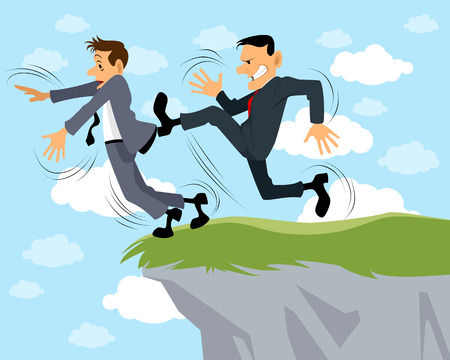 betrayal: Vector illustration of a businessman kicks another Illustration