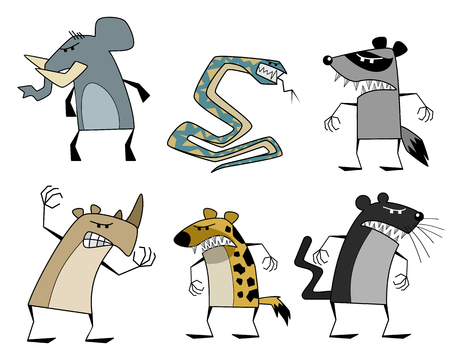 Vector illustration of a six strange animals