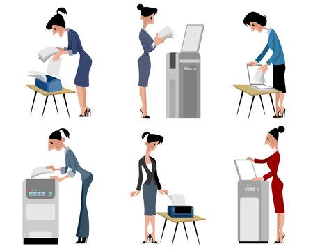 shredder: illustration of a six businesswomen set