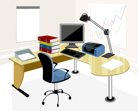 illustration of a modern office workplace Illustration