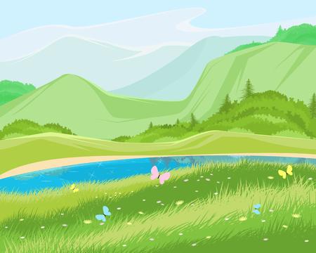 Vector illustration of a green summer landscape