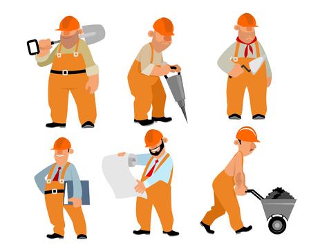 Vector illustration of a six builders set Illustration