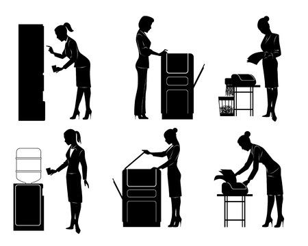 Vector illustration of a six businesswomen silhouette Illustration