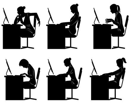 Vector illustration of a six businesswomen silhouettes Stock Illustratie
