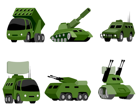 Vector illustration of a six military vehicle