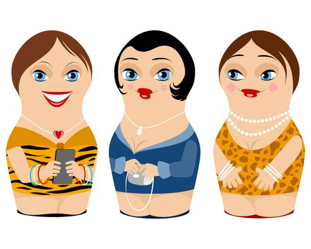 Vector illustration of a three nested doll