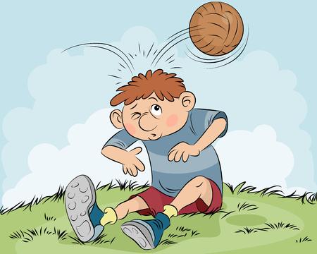 Vector illustration of a hit a ball on head Çizim