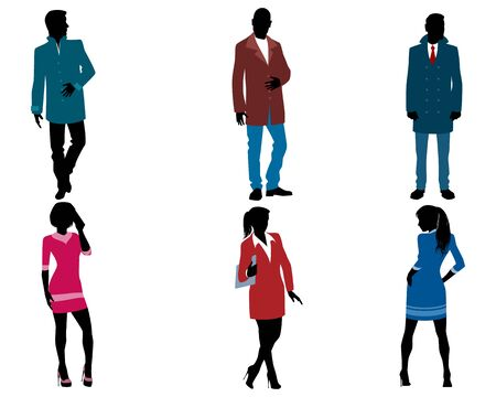contemplate: Vector illustration of a businessmen and businesswomen silhouette.