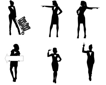 six point: Vector illustration of a six businesswoman silhouettes Illustration