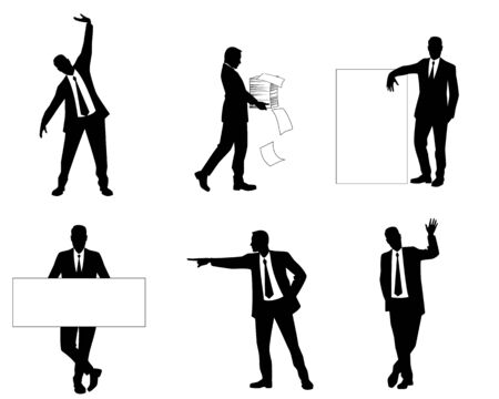 six point: Vector illustration of a six businessmen silhouettes