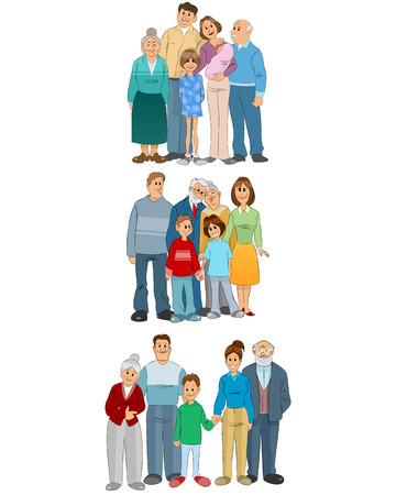 Illustration vectorielle du jeu de trois familles