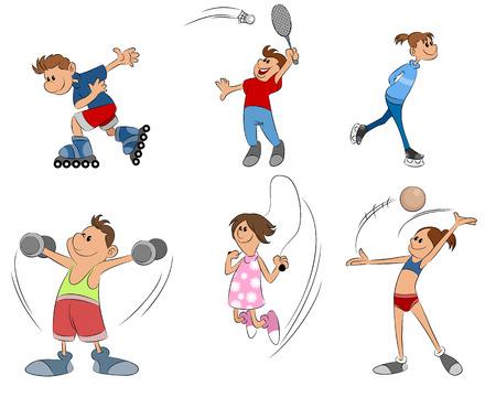 vector illustration of six kids practice sport