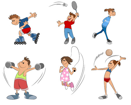 rollerball: vector illustration of six kids practice sport