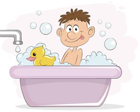 Vector illustration of a boy in bath