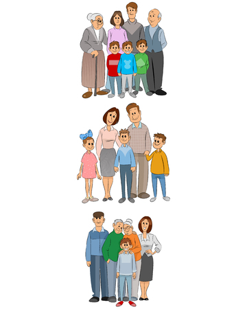 the grand daughter: Vector illustration of three family set Illustration