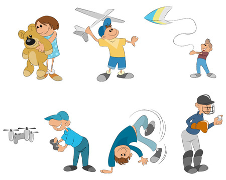 vector illustration of six kids playing