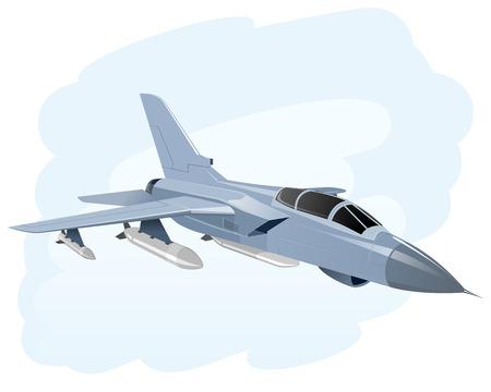 Vector illustratie van een vliegend oorlogsvliegtuig
