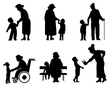 Ilustración de vector de una abuela y nieto siluetas