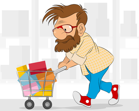 Vector illustration of a hipster in shop Illustration