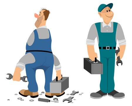 Vector illustration of a professionale and noprofessionale plumber