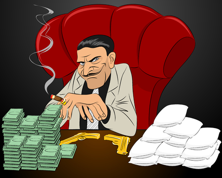 Vector illustration of a drug lord in chair Vettoriali