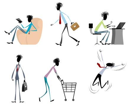 shopping chart: Vector illustration of six modern guys