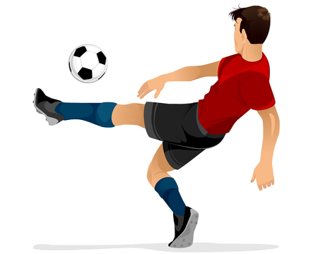 Vector illustration of a football player kicks off