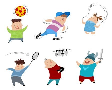 Vector illustration of a six children set Ilustracja