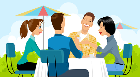 Vector illustration of a of a group of people in cafe