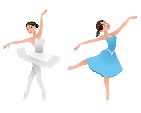 Vector illustration of a two young ballerinas