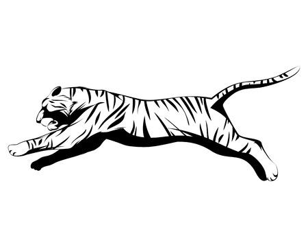Vector illustration of a big tiger jumping