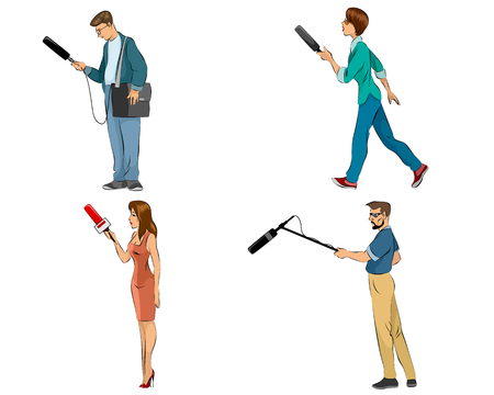 Vector illustration of a four reporters set Illustration