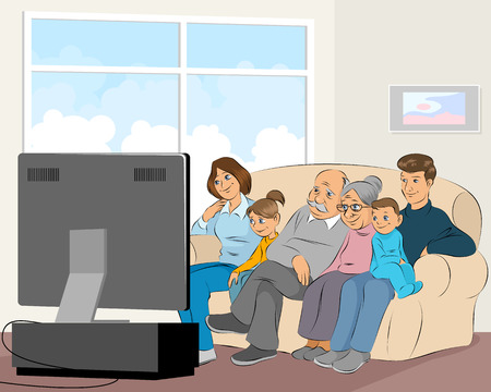 Vector illustration of a family watching TV Vectores