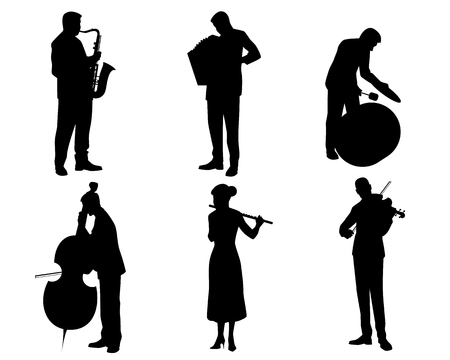 Vector illustration of a six musicians silhouettes Ilustrace