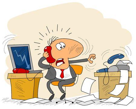Vector illustratie van een zakenman in kantoor Stock Illustratie