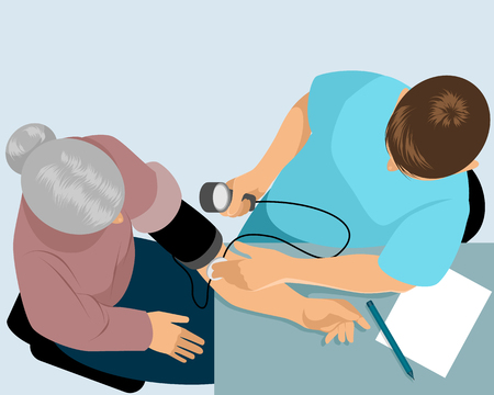 Vector illustration of a doctor measures the pressure Imagens - 87951746
