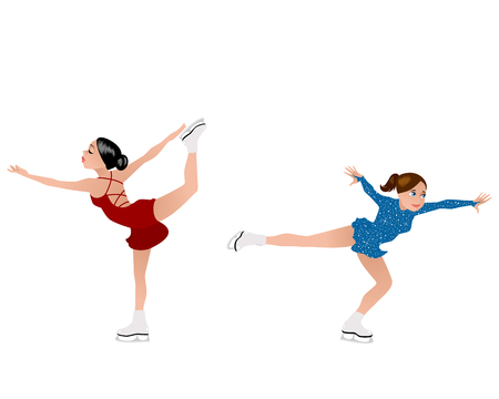 Vector illustration of girls skaters on the ice Illustration