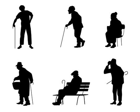 Ilustración de vector de seis siluetas de personas mayores