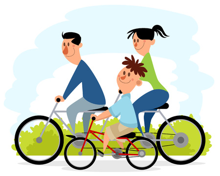 Walk parents with son on the bikes Illustration