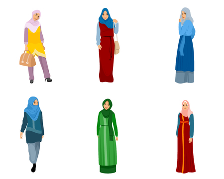 Vector illustration of set of muslim women