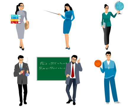 Ilustracja wektorowa sześciu nauczycieli na białym tle