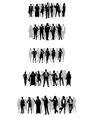 Vector illustration of silhouettes of several groups of businessmen