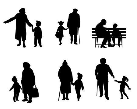 Vector illustration of silhouettes of elderly people with grandchildren