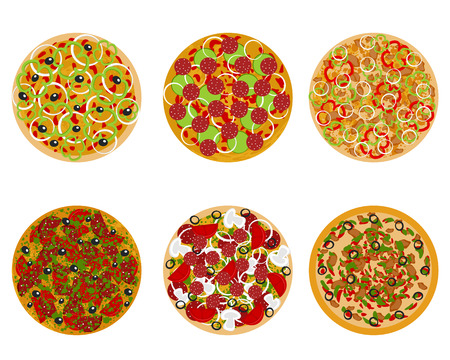 Vector illustration of six types of pizza
